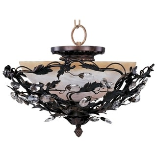 Elegante Bronze Steel 3-light Semi-flush Mount