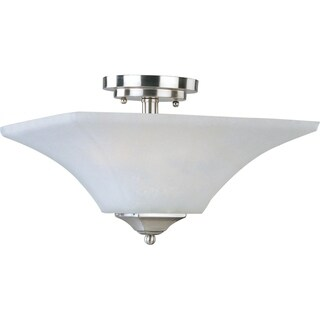 Aurora Nickel Steel 2-light Semi-flush Mount