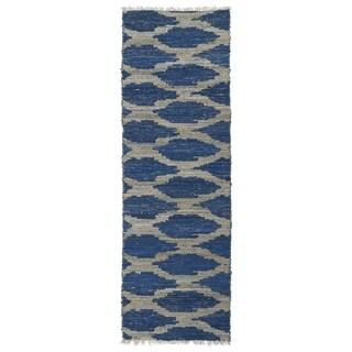 Handmade Cayon Natural Fiber Navy Lattice Rug (2'0 x 6'0)
