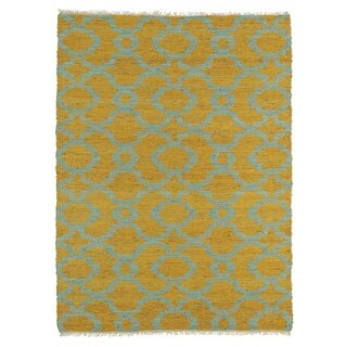 Handmade Natural Fiber Cayon Orange Trellis Rug (7'6 x 9'0)