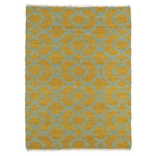 Handmade Natural Fiber Cayon Orange Trellis Rug (8'0 x 11'0)