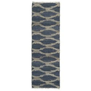 Handmade Denim Natural Fiber Cayon Lattice Rug (2'6 x 8'0)