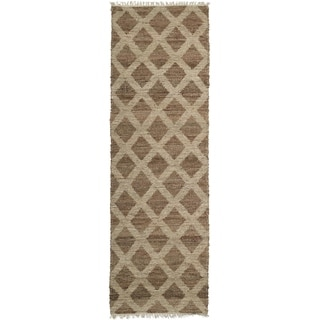 Handmade Natural Fiber Cayon Chocolate Lattice Rug (2'0 x 6'0)