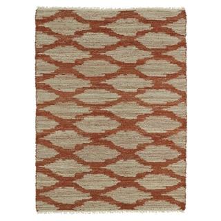 Handmade Natural Fiber Canyon Paprika Lattice Rug (8'0 x 11'0)