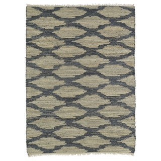 Handmade Natural Fiber Canyon Denim Lattice Rug (8'0 x 11'0)