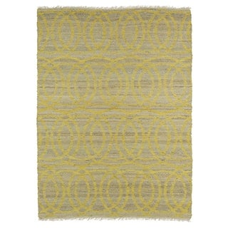 Handmade Natural Fiber Canyon Yellow Circles Rug (8'0 x 11'0)