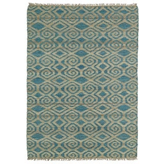 Handmade Natural Fiber Cayon Teal Diamonds Rug (7'6 x 9'0)