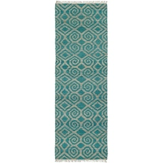 Handmade Natural Fiber Cayon Teal Diamonds Rug (2'0 x 6'0)