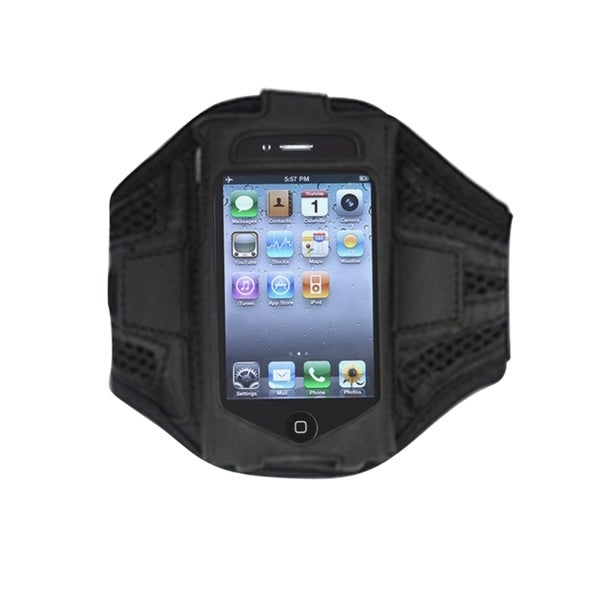 Insten Black Premium Sport Exercise Running Armband Phone Case Cover For Apple iPhone 4/ 4s