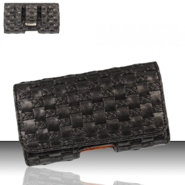 Insten Black Horizontal Weave Leather Fabric Pouch Phone Case Cover For LG VX100000 Voyager