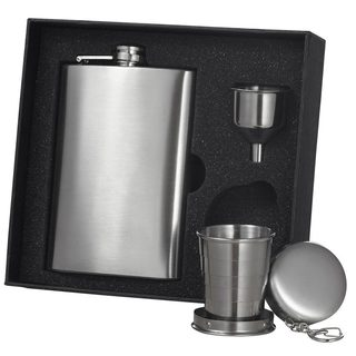 Visol 8-ounce Stainless Steel Hip Flask Gift Set