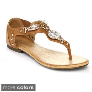 DBDK ELIZA-2 Women's Stud Ankle T-strap Rhinestones Sandals
