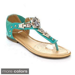 DBDK ELIZA-1 Women's Stud Ankle T-strap Rhinestones Sandals