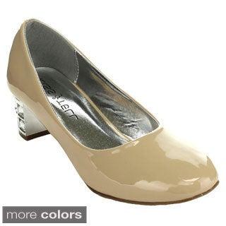 KISS & TELL QUEENA-02 Women's Slip On Rhinestone Chunky Heel Dress Pumps