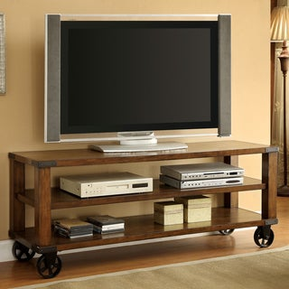 Furniture of America Town Industrial 60-inch Oak Solid Wood TV Stand