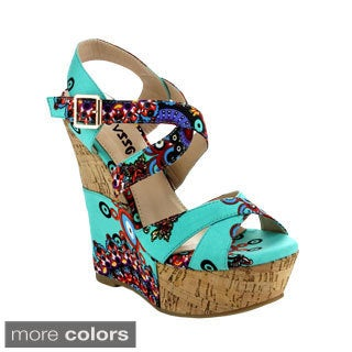 Pazzle Women's Flamingo Strappy Platform Wedges