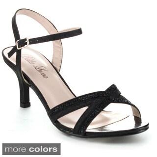 Bella Luna Women's Luna-04 Rhinestone Ankle Strap Kitty Heels