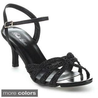 Bella Luna Women's Luna-04 Glitter Rhinestone Ankle Strap Kitty Heels