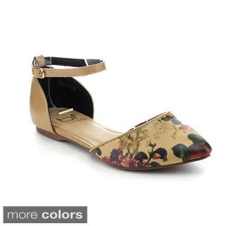 Betani Women's Agustina-6 Ankle Strap Floral D'Orsay Flats