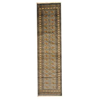 Herat Oriental Pakistan Hand-knotted Tribal Bokhara Grey/ Gold Wool Rug (2'8 x 10')