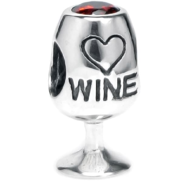 Queenberry Sterling Silver Red Crystal Wine Lover Cup European Bead Charm 14924438