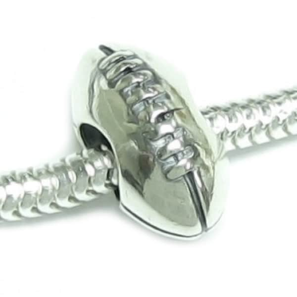 Queenberry Sterling Silver Football European Bead Charm