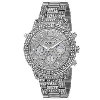 Akribos XXIV Dazzling Women's Swiss Quartz Dual Time Crystal-Accented Bracelet Watch