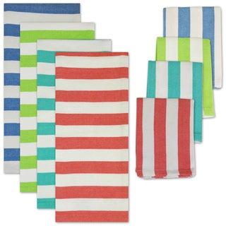 Cabana Stripe Heavyweight Dishtowel/ Dishcloth Set (Set of 8)