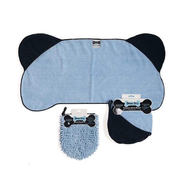 Blue Pet Towel Blue Wash Mitt Kit