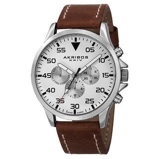 Akribos XXIV Men's Swiss Quartz Multifunction Dual Time Leather Strap Watch