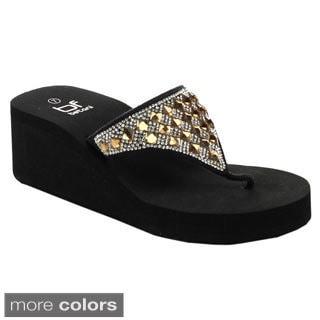 Betani Women's Evelyn-6 Thong Flip Flop Rhinestone Sandals