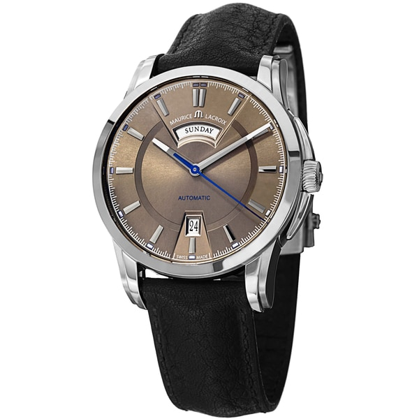 Maurice Lacroix Men's PT6158-SS001-73E 'Pontos' Brown Dial Black Leather Strap DayDate Automatic Watch