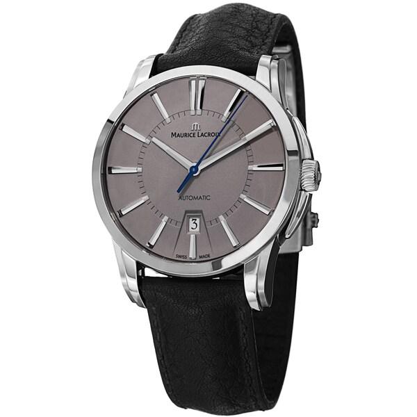 Maurice Lacroix Men's PT6148-SS001-230 'Pontos' Grey Dial Black Leather Strap Automatic Watch