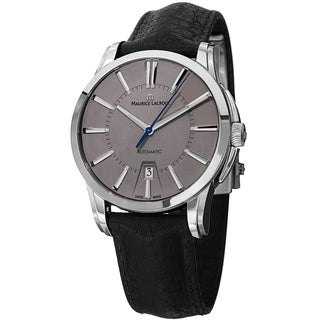 Maurice Lacroix Men's PT6148-SS001-230 'Pontos' Grey Dial Black Leather Strap Automatic Watch