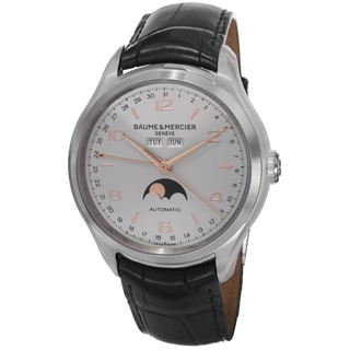 Baume & Mercier Men's MOA10055 'Clifton' Silver Dial Black Leather Strap Moon phase Automatic Watch