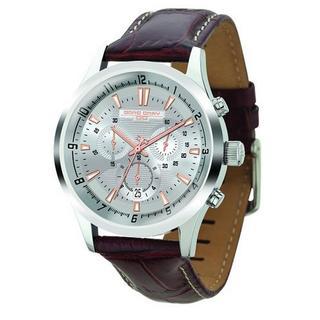 Jorg Gray Men's JG6800-22 Brown Leather Stainless Steel Case Watch