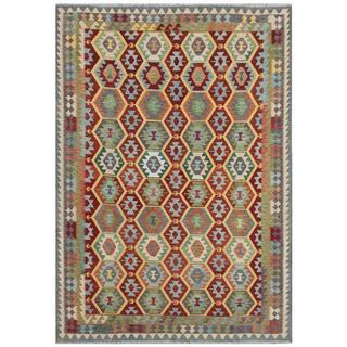 Herat Oriental Afghan Hand-woven Tribal Kilim Burgundy/ Gray Wool Rug (7'11 x 11'5)