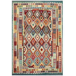 Herat Oriental Afghan Hand-woven Tribal Kilim Light Blue/ Beige Wool Rug (7'8 x 11'2)