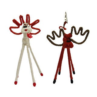 Set of 2 White and Brown Reindeer Yarn Picture Clips (Colombia)