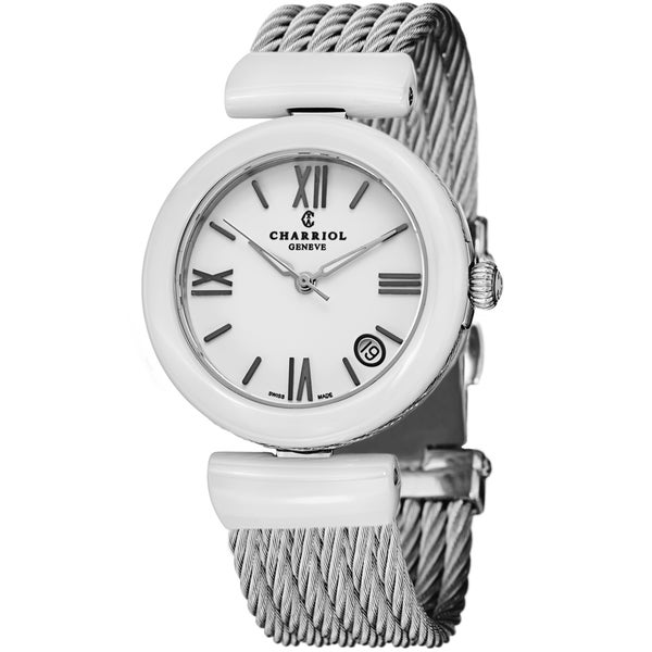 Charriol Women's AE33CW.561.004 'AEL' White Dial White Ceramic/Chervon Cable Quartz Watch