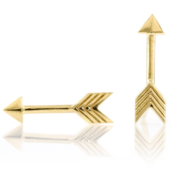 Goldtone Sterling Silver Arrow Earrings