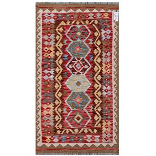 Herat Oriental Afghan Hand-woven Tribal Kilim Brown/ Red Wool Rug (2'10 x 5'1)