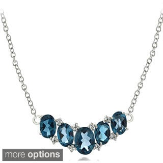 Glitzy Rocks Sterling Silver London Blue White Topaz 5-stone Necklace