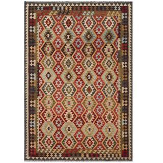 Herat Oriental Afghan Hand-woven Tribal Kilim Red/ Brown Wool Rug (7'9 x 11'4)