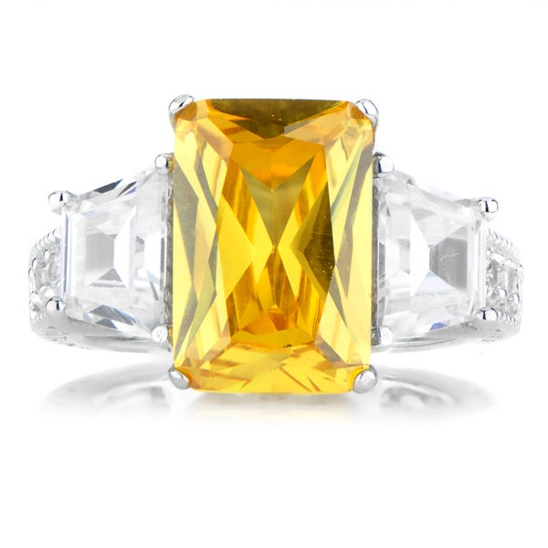 Sterling Silver Three Stone Clear and Yellow Cubic Zirconia Ring