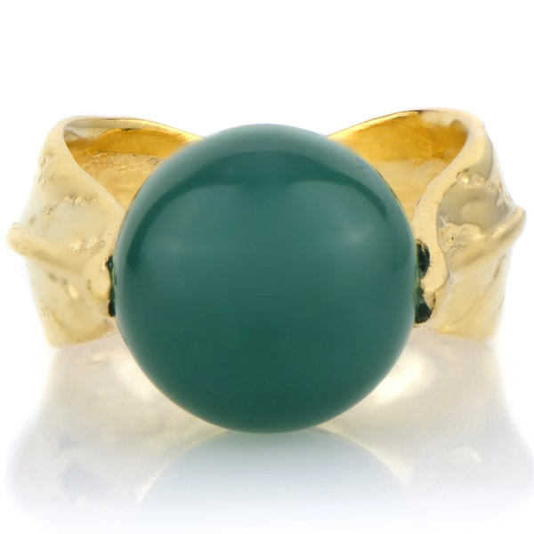 Goldtone Green Stone Leaf Ring