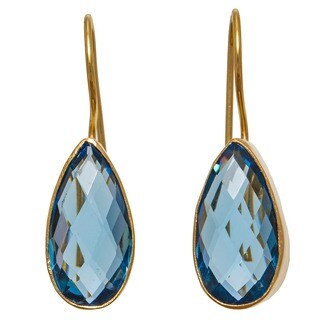 Sitara Collections Goldplated Blue Hydro Glass Tear-drop Dangle Earrings (India)