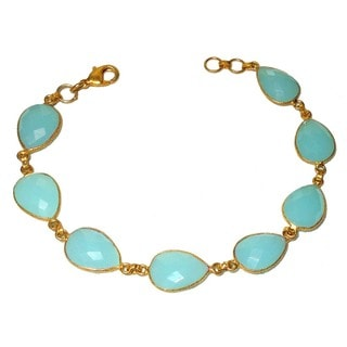 Sitara Collections Handmade Goldplated Aqua Chalcedony Glass Bracelet (India)