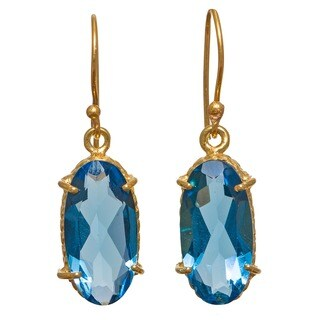 Sitara Collections Dangle Goldplated Blue Hydro Glass Earrings (India)
