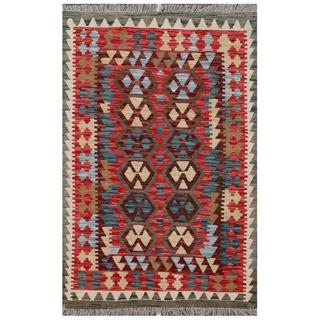 Herat Oriental Afghan Hand-woven Tribal Kilim Brown/ Red Wool Rug (3'4 x 5')